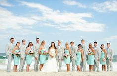 I like the turquoise bridesmaids dresses.  Guys would look good in gray suits with pale yellow ties.  Bride will have sunflowers and bridal party will have white lilies.