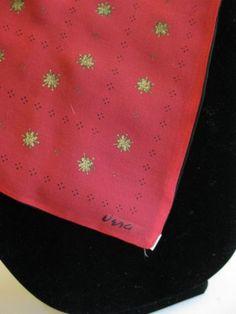 Beautiful Vintage Vera Neumann Red Black Two Sided Silk Gold Flower Dots Scarf   eBay