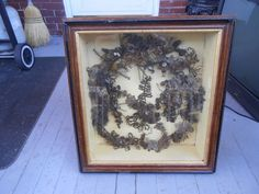 LARGE ANTIQUE VINTAGE VICTORIAN MOURNING HAIR WREATH PICTURE SHADOW BOX FRAME  $292 5 bids 11/24/16 EB