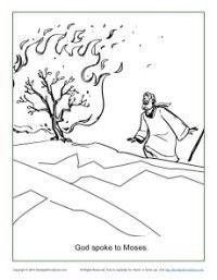 Moses and the Burning Bush Cartoon & Coloring Page