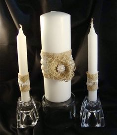 love burlap and candles  Rustic Burlap and Lace Unity Candle Set by ORomeo on Etsy, $35.50