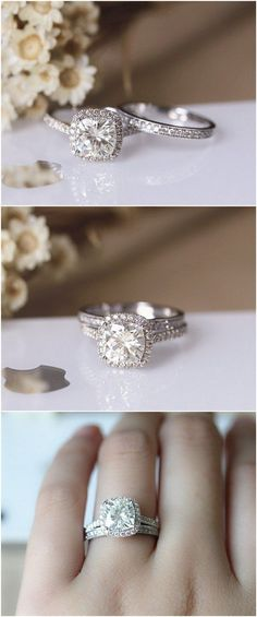 2ct 7.5mm Cushion Brilliant Moissanite Engagement Ring Set Solid 14K White Gold Ring Set / http://www.deerpearlflowers.com/engagement-rings-from-etsy/