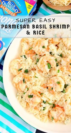 This Parmesan Basil Shrimp and Rice is packed with tender shrimp and fluffy white rice, enveloped with a Parmesan and basil cream sauce. It's easy to make and ready in less than 20 minutes! Shrimp And Rice Recipes, White Rice Recipes, Shrimp Recipes For Dinner, Easy Rice Recipes, Basil Recipes, Fish Recipes, Easy Dinner Recipes, Shrimp And Rice Casserole, Delicious Recipes