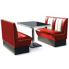 Hollywood Booth Dining Set Red
