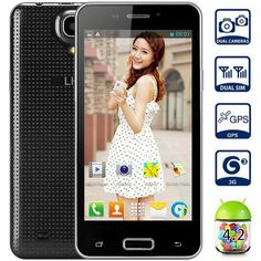 4.5 inch LKD F5 Android 4.2 3G Unlocked Phone MTK6572 Dual Core 1.0GHz 4GB ROM WVGA Screen WiFi GPS (BLACK) | Everbuying.com