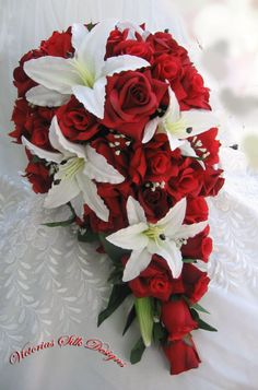 Red roses and white lilies cascade bridal bouquet 2 pieces Cascading Wedding Bouquets, Cascade Bouquet, Bride Bouquets, Rose Bouquet, Wedding Flowers, Bouquet Wedding, Black Red Wedding, Wedding Cake Red, Red Rose Wedding