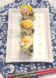 Fresh Avocado & Prawn Sushi Rice Rolls   Hungry Peepor Sushi Roll Recipes, Rice Rolls, Mango Puree, Fresh Avocado, Love Eat, Sushi Rolls, Rolls Recipe, Prawn