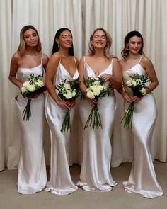 Beach Wedding Bridesmaid Dresses, Beach Wedding Bridesmaids, Bridesmaid Dress Colors, Brides And Bridesmaids, Dream Wedding Dresses, Bridal Dresses, Different Bridesmaid Dresses, Wedding Bells, Wedding Planning
