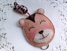 Mr Brown Bear with Fish Keys Pouch/Key Case from Lily's Handmade - Desire 2 Handmade Gifts, Bags, Charms, Pouches, Cases, Purses by DaWanda.com