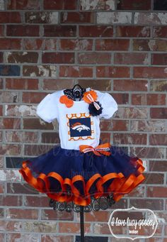 Denver Broncos colors ribbon lined tutu set/outfit by ILoveLucyGoosey