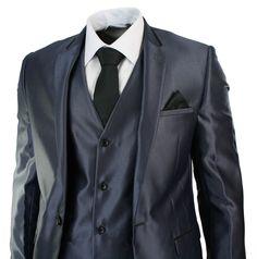 Mens Shiny 3 Piece Blue Wedding Party Prom Suit Tailored Fit Black Trim