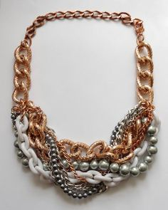 Silver and bronze necklace