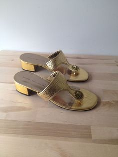 Marc By Marc Jacobs Womens SZ EUR 40 US 9 Leather Gold Colored Slip On Sandal  #MarcbyMarcJacobs #Slides