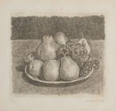 thunderstruck9: Giorgio Morandi (Italian 1890-1964) Natura morta con pere ed uva [Still Life with Pears and Grapes] 1927. Etching 18.5 x 20.5 cm.; sheet: 26.3 x 33.8 cm. Numbered 30/40.