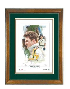 Mark Edward Waugh provided unbridled enjoyment to cricket lovers all over the world, and especially in  Australia .  An Exquisite Limited Edition Lithograph   Australia 's most celebrated sports artist, Brian Clinton, has captured the Test career of Mark Waugh.  Personally signed by Mark Waugh  Limited in edition to 500 only Certificate of Authenticity Authenticiated by PriceWaterhouseCoopers Approx frame size 1200mm x 900mm