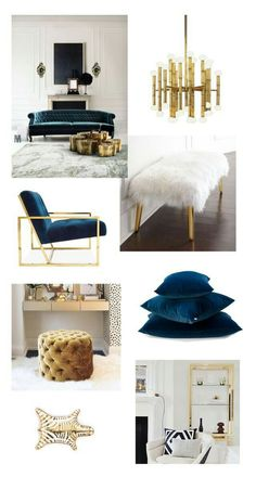 Pops of gold, emerald/teal, and navy