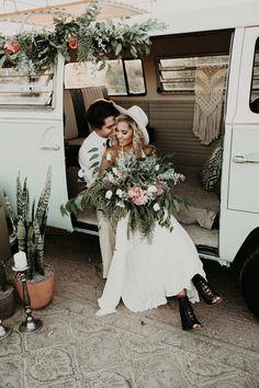 Refreshed from this hippie-van-turned- boho-glam wedding inspiration | Image by Noble Photographers #bohemianwedding #bohowedding #desertwedding #greenwedding #earthywedding #bridalfashion #bridalstyle #bride #bridalinspiration #groom #groomstyle #groomfashion #groominspiration #weddingportrait #coupleportrait #bouquet #bridalbouquet #weddingbouquet #wedding #weddinginspiration