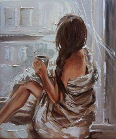 Monika Luniak – Paintings for Sale - Malerei Woman Painting, Oil Painting On Canvas, Canvas Art, L'art Du Portrait, Art Mignon, Frida Art, Arte Sketchbook, Paintings For Sale, Famous Artists Paintings