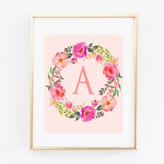 custom monogram print, watercolor wreath wall art,personalized typography poster, Nursery print,baby girl gift digital printable Baby shower by S4StarSbySiSSy on Etsy https://www.etsy.com/ca/listing/469579852/custom-monogram-print-watercolor-wreath