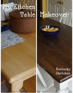 Making over a kitchen table- I hate the look of the blonde wood that we have now, so this may be in our future.