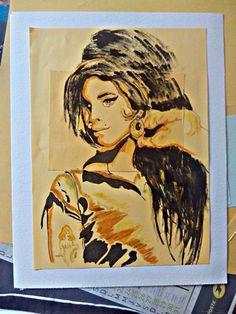 yoooooo Amy (Collage, papier, peinture)