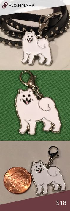 "Samoyed / malamute/ Pomeranian, enamel dog Puppy dog enamel clip charm 🐶 on leather bracelet/ choker or  silver colored chain. Choose 20"" chain🐾 OR 🐾 White, brown or Black strap leather with silver colored metal accents and buckle. Leather bracelet/choker is  approx 36"". IF you only want the clip charm, choose CHARM ONLY and bid $10. .  Samoyed , malamute, white Pomeranian, white husky, or any cute white dog with a curly tail ! Jewelry Bracelets"
