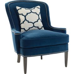 Southwood Blue Studded Crescent Chair
