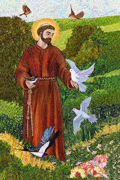 Print Art-St. Francis  Preaching to the Birds. Art by CiarciArt