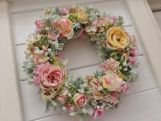 Clarah / Jarný veniec na dvere Floral Wreath, Jar, Wreaths, Home Decor, Garlands, Flower Crowns, Door Wreaths, Deco Mesh Wreaths, Interior Design