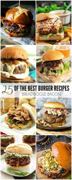 25 of the Best Burger Recipes Some days there's just nothing better than a big juicy burger to sink your teeth into! We've rounded up 25 of the Best Burger Recipes to satisfy the carnivore in you! Gourmet Burgers, Burger Recipes, Grilling Recipes, Beef Recipes, Cooking Recipes, Burger Ideas, Best Burger Recipe, Cooking Cake, Salad Recipes