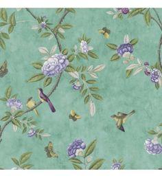 Papel pintado romantico con flores moradas y pajaros fondo verde - 40920