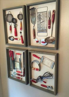 Display antique kitchen utensils
