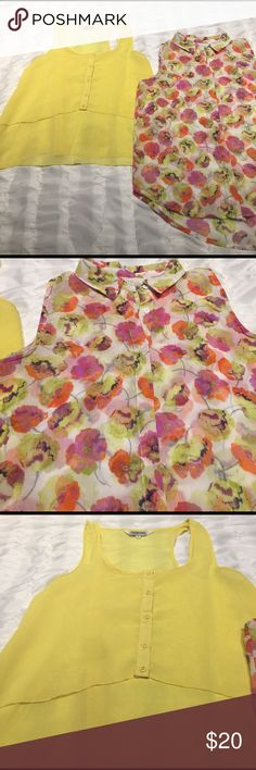 Two sheer tank tops Plain yellow sheer tank by Tramp is super cute with a layered look. Floral sheer tank by Olive & Oak button up. Both tanks are perfect for spring time! In great condition!! Tops Tank Tops