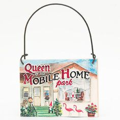 DECO Mini Sign Mobile Home Queen Flamingo RV Park Trailer Gnome Ornament Gift DecorativeGreetingsInc