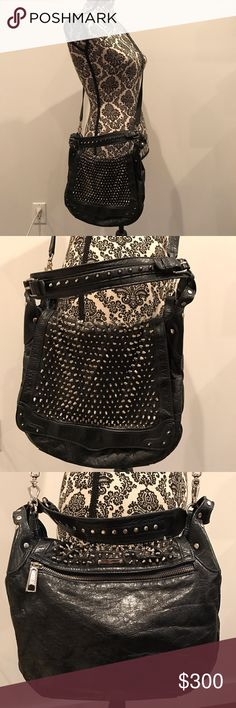 Rebecca Minkoff Navy Studded Bag Dark navy leather bag with stud detailing on the front flap. Magnetic button closure. In excellent condition. Rebecca Minkoff Bags Crossbody Bags