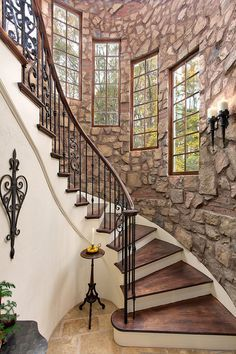 """A gorgeous """"exposed"""" wall and curved staircase. Wooden Staircase Design, Home Stairs Design, Wooden Staircases, Stairways, Home Interior Design, Beautiful Stairs, Beautiful Homes, Stair Steps, Wood Steps"""