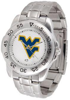 West Virginia Mountaineers Sport Steel Band Men's Watch