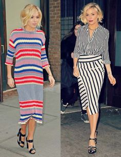 { Left: Céline dress, Pierre Hardy shoes and Jennifer Fisher necklace Right: Altuzarra blouse and skirt ( similar ), Sonia Rykiel sa. Celebrity Shoes, Sienna Miller, New York Style, Celeb Style, Girl Crushes, Celine, Lifestyle Blog, What To Wear, Spring Summer
