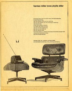 You can do so many things in your Eames lounge chair and ottoman, including watch Phyllis Diller    #hermanmiller   #vintagetransistortv  #phyllisdiller