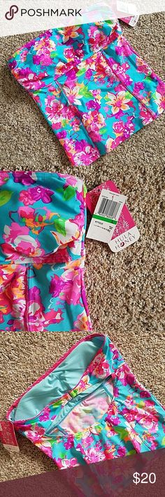 Hula Honey bandeau tankini top NWT tankini top only! Vibrant colors perfect to pop on the beach! No straps! Lightly padded bra! Swim