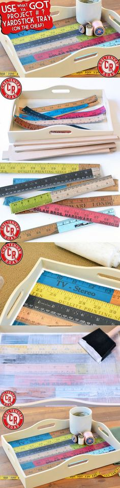 Learn how to make this DIY yardstick tray - with a free printable and rulers! This is so cool and easy to do.