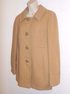 J CREW 10 M Wool Coat Tan Pleated Back Jacket Winter Womens Beige #JCREW #BasicCoat