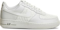 Remastered for Nike 's latest footwear drop, the Air Force 1 trainers , although in keeping with their iconic silhouette, have transformed into quite something. The all-white creation is elevated using woven panels while the label's habitual swoosh takes on a patent finish, creating a premium look and feel. Stepping out in the shoes will become dramatic when paired with distressed jeans. Nike woven trainers Lace-up fastening at front Round toe, woven panels, branding at vamp, sides, tongue…