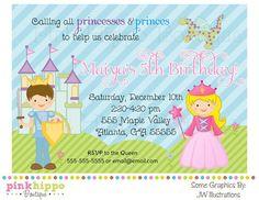 Princess and Prince Birthday Invitation-DIY PRINTABLE Digital Invitation. $13.00, via Etsy.