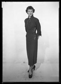 1950s Glamour Fashion negative #5018: Beautiful tall Brunette woman tight dress   eBay