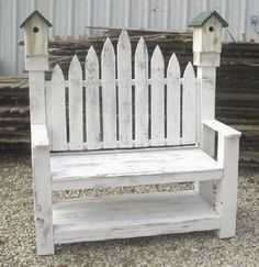 Man, December has been a busy month for me…check out one of my latest projects. This build came to be when a friend contacted me about making her grandmother a wooden outdoor birdhouse bench. She texted me the below photo and asked if I felt I could do it. Well I've never made a bench …