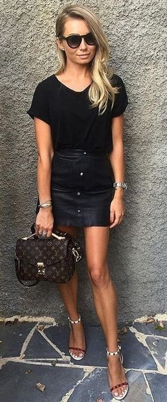 #summer #lovely #fashion |  All Black + Pop Of Color