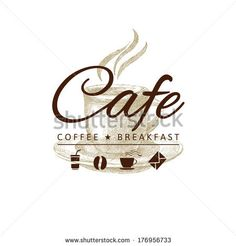 cafe logo with hand drawn coffee cup - stock vector