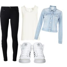 """school outfit"" by tashhx0 on Polyvore #jean #jacket #fall #cute #school #ideas #ootd"