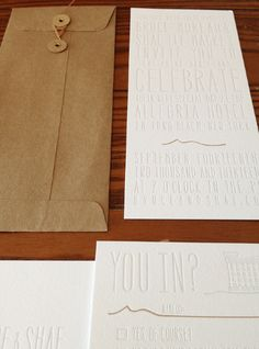 Custom Tonal Letterpress Wedding Invitations & RSVP by @reneemudd
